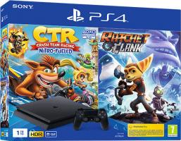 Sony Playstation 4 Slim 1 TB F Chassis + Crash Team Racing Nitro Fueled + Ratchet and Clank